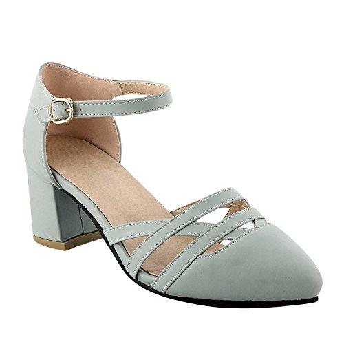 MissSaSa Damen Knöchelriemchen Pointed Toe Pumps mit blockabsatz Grau