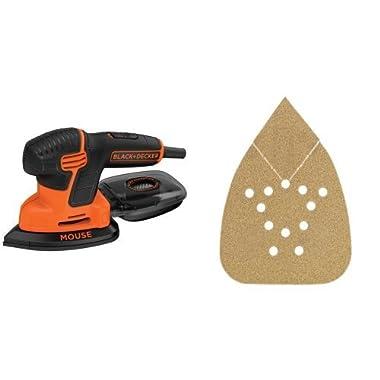 BLACK+DECKER BDEMS600 Mouse Detail Sander with BDAMX Mouse Assorted Sandpaper, 12-Pack