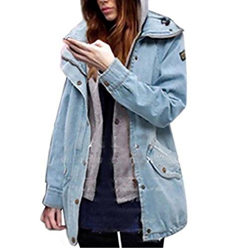 Da Hoodie Giacca Denim Parka Donna Cappuccio Manica Cappotti Blu 1 In Outwear Giacche Lunga Di Jeans Casual Con Felpa Cappotto Invernale 2 vwxvEqSrt