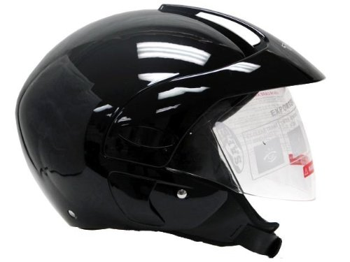 Motorcycle Scooter Open Face Helmet DOT - Glossy Black (Small)