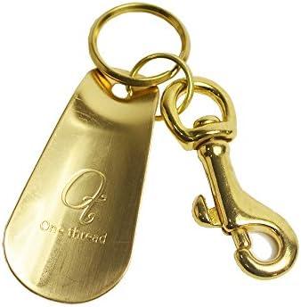 (ワンスレッド) 靴べら 携帯 ミニ キーホルダー キーリング シューホーン 6.3cmタイプ くつべら 短ベラ 真鍮 ソリッドブラス 日本製 金色 無垢 ゴールドカラー OT-SH