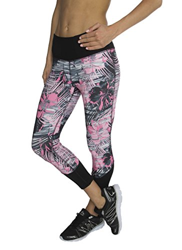 RBX Active Women's Floral Print Capri Length Performance Legging Black / Pink Floral X-Large (Mustache Pantyhose)