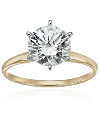 10k Round-Cut Solitaire with Swarovski Zirconia Ring