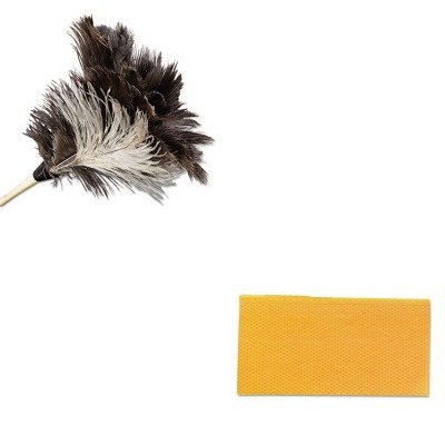 KITCHI0416UNS13FD - Value Kit - Economy Ostrich Feather Duster, 13quot; (UNS13FD) and Chix Stretch N Dust Cloths (CHI0416) (Economy Ostrich Feather Duster)