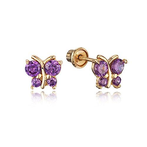 14k Yellow Gold Butterfly Cubic Zirconia Children Screwback Baby Girls Earrings