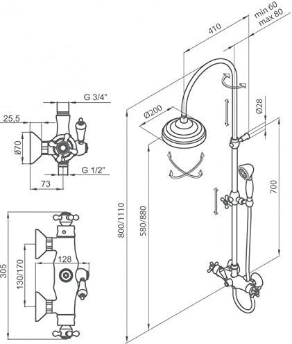 Grb 1866 - Termostatica ducha con columna cromo: Amazon.es ...