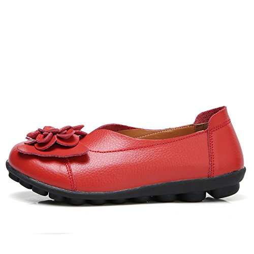 Gaatpot Women's Flowers Leather Moccasins Casual Slip-on Loafer Boat Shoes Driving Shoes Sandals Red jEau9