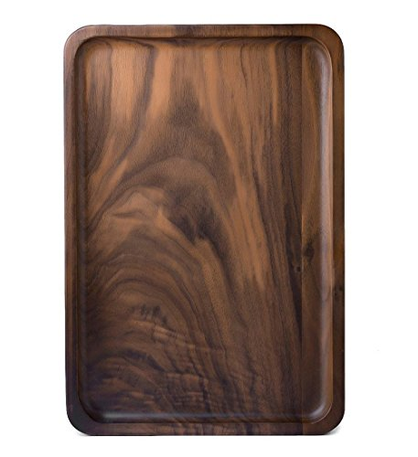 Rustic Walnut Wooden Tray Solid Wood Serving Tray Square Rectangle Platter Tea Tray Coffee Table Tray (Rectangle Large (13x9x0.8inch))