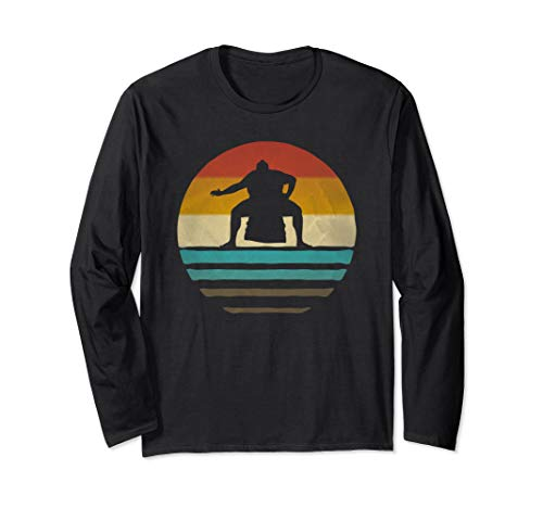 Retro Vintage Sunset Old School Sumo Wrestling Funny Gift Long Sleeve T-Shirt]()