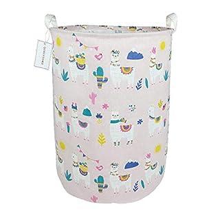 QIMI Large Storage Bins,Waterproof Laundry Hamper with Handles Canvas Organizer Bin for Kids Hamper Nursery Hamper(Alpaca)