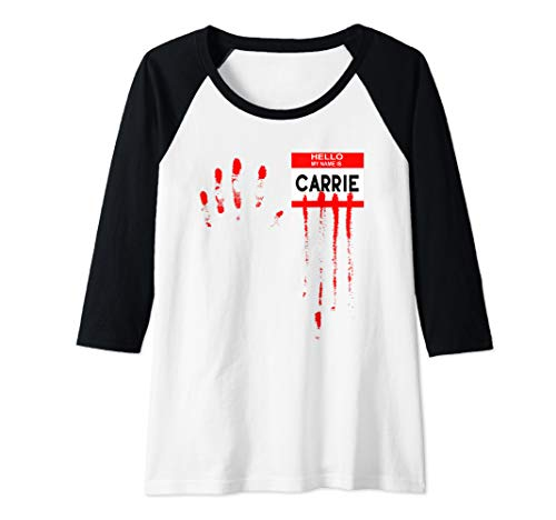 Womens Hello My Name Is...Carrie Halloween Scary Horror Movie Raglan Baseball ()