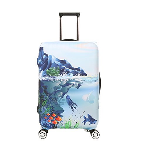 Fvstar Luggage Cover Stretch Suitcase Cover Travel Suitcase Protector Fits for 22-24 inch Luggage - Check Hard Case Cover