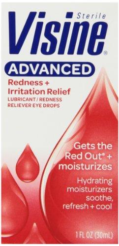 Visine avancée Rougeur et irritation de secours Lubrifiant, Drops Rougeur Reliever yeux, une once liquide Bouteille