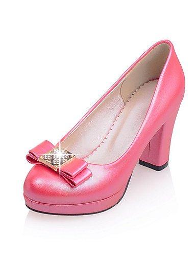 Rojo Uk8 pu tacones Plataforma rosa tacón Pink tacones Trabajo oficina us10 5 Blanco Cn43 Mujer Ggx 5 Casual Robusto Y Eu42 xqU77B