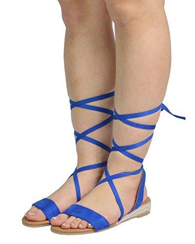 e0a839f5102f DREAM PAIRS Women s Formosa 3 Royal Blue Low Platform Wedges Mid Calf Tie  Up Sandals Size 8 B(M) US
