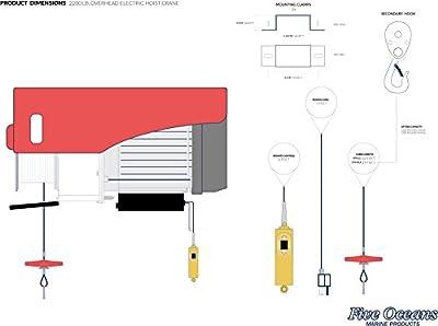 Five Oceans Overhead Electric Hoist Crane, 2200 LBS - BC 3820-1