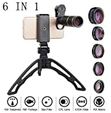 Mobile Phone Lens 6 in 1 Telephoto Lens Bracket Set Telephoto/Wide Angle/Object Distance/Fisheye/Star/Polarized for Outdoor Travel Shooting