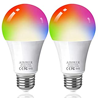 Smart Light Bulbs 60 Watts Equivalent Full Color Changing Smart Bulbs Compatible with Amazon Alexa Google Home and Siri No Hub Required 2.4GHz WiFi Bulbs AISIRER 2 Pack A19 E26 LED Bulbs