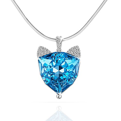 (Lydia Queen Fox Necklace Mother's Day Gift Women's Fashion Jewelry Sapphire Pendant Necklace Made with Blue Crystal Elements (Perfect Gift for Mom, Daughter, Wife, Girlfriend) Lucky Fox)