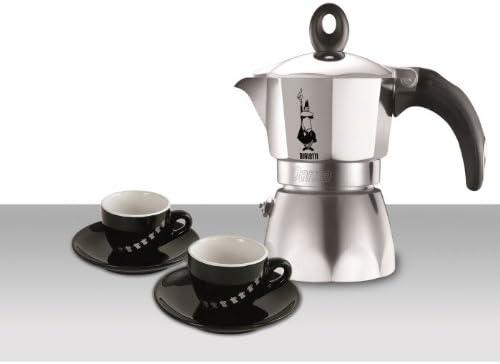 Bialetti-Juego de 0005180-Cafetera italiana 3 tazas de café, 2 tazas, diseño de Dama Glamour, color negro: Amazon.es: Hogar
