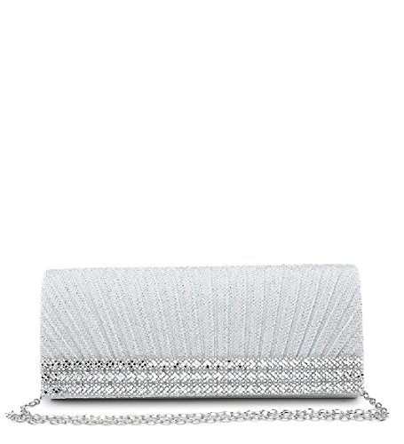 Pleated Clutch Diamante ME68049 Pleated Bag Glitter Women's Ladies White Handbag Glitter Clutch Diamante HYPqUUz1