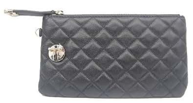 Women Zip Around Continental Wallet Black Soft Leather