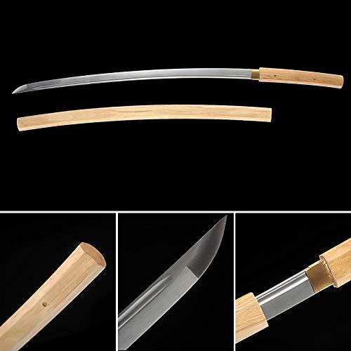 - XINAN xinan2018 Samurai Katana Sword, Battle Ready, Hand Forged, Carbon Steel, Heat Tempered, Full Tang, Sharp, Wooden Scabbard (002)