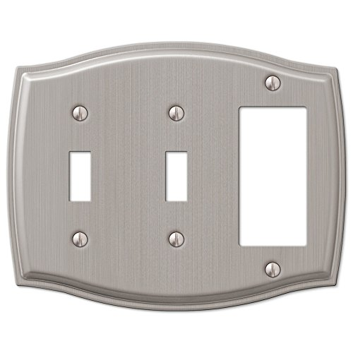 2 Toggle Rocker GFI Combo Wall Plate Cover - Brushed Nickel