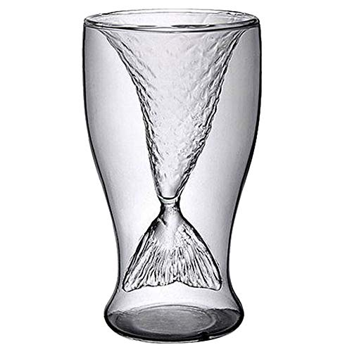 Transparent - Clear 100ml Creative Mermaid Shape Glass Wine Beer Cup Transparent - Board 750ml Colored Pitcher Funnel Wall Enclosure Shelf Vase Glasses Bucket Glass Decorations Bottles Tr