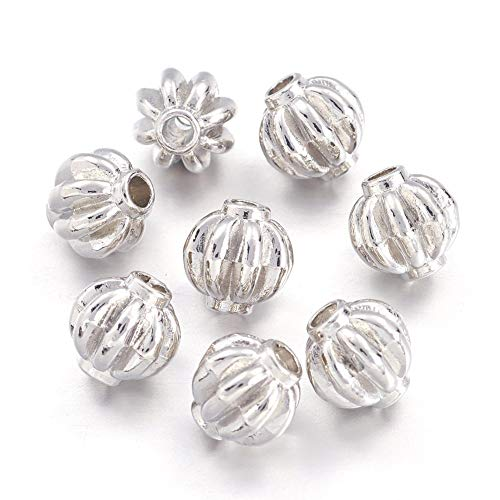 Kissitty 50Pcs Platinum Plated Alloy Corrugated Pumpkin Spacer Beads 8mm Lead Free & Nickel Free DIY Jewelry Making Metal Findings