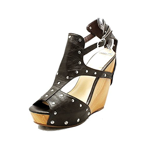 Sandalias / zapatos de tacón alto plateados de la plataforma de las mujeres Brown