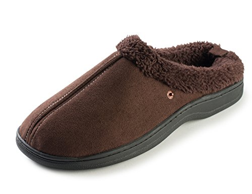 J. Fiallo Mens Stitched Faux Suede, Fleece Lined Clog Slippers Brown ()
