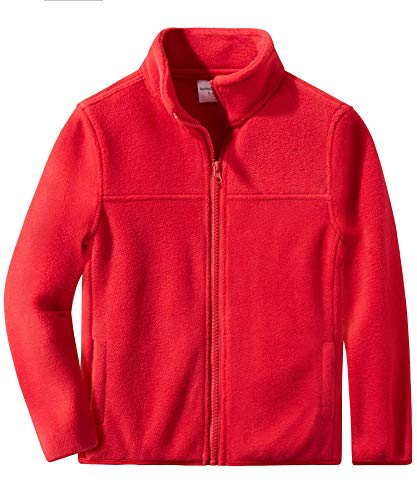 Spring&Gege Youth Solid Full-Zip Polar Fleece Jacket for Boys and Girls Size 7-8 Years Red ()