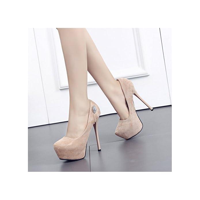 Hbdlh Di Bell'aspetto scarpe Da Donna 14cm Super High Heel Con Belle Pelle Scamosciata Sexy Punto Perforazione Impermeabile Sola Scarpa Le Scarpe