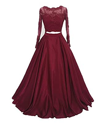 XingMeng Two Piece Long Sleeves Prom Evening Dress Lace Appliques Formal Gown Burgundy US 6