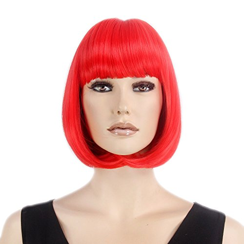 Stfantasy Wigs for Women Cosplay Costume Short Straight Synthetic Flat Bang Peluca 12 Inch 135g w/ free Wig Cap and Clips, (Red Delicious Wig)