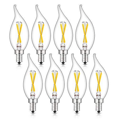 CRLight 4000K LED Candelabra Bulb 2W Daylight White 30W Equivalent 300LM, E12 Base Dimmable LED Candle Chandelier Bulbs, Antique CA11 Clear Glass Flame Shape Bent Tip, Pack of 8 ()