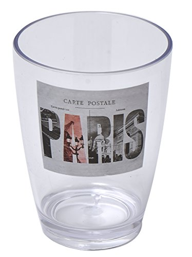 "EVIDECO 6100462 Clear Acrylic Printed Bathroom Tumbler Collections 4.13""x2.95"", Paris City, Multicolor from EVIDECO"