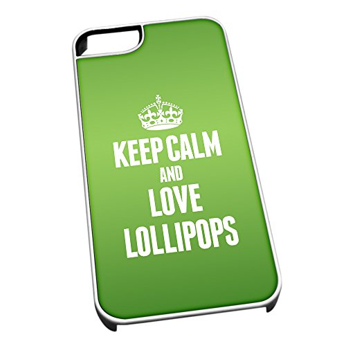 Bianco cover per iPhone 5/5S 1234 verde Keep Calm and Love lollipops