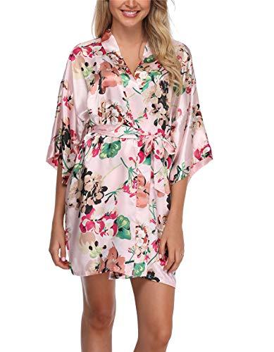 Women's Floral Satin Kimono Robes Short Bridesmaids Robes for Wedding Party Pink