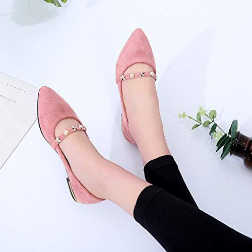 Sandales Plates D'été Décontractées Chaussures Perle Rose Femme Été De Pointu Seasons Et Pratique Eté Femmes Modaworld Simple À Four Talons dFCqXCw