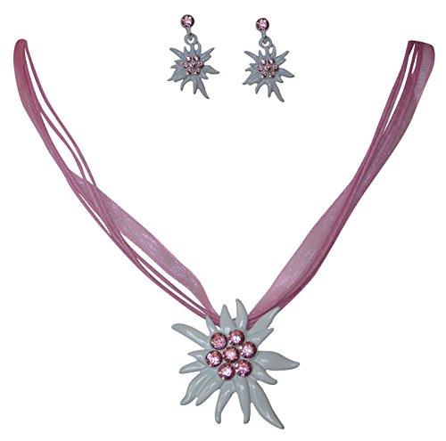 Edles Trachtenschmuck Dirndl Kristall Edelweiss Colllier Set - Kette & Ohrhänger (Light Rose rosa)