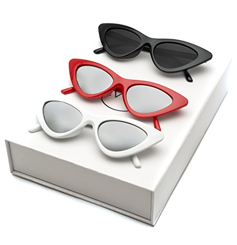 intage Tinted Lens Cat Eye Sunglasses (Box: Black Frame/Black Lens - Red Frame/Mirror Silver - White Frame/Mirror Silver, 51) (Vintage Style Sunglasses)