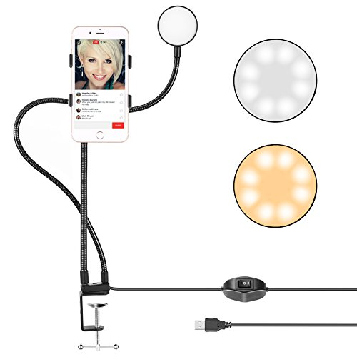 Neewer Clamp-on Live Broadcast USB LED Selfie Ring Light with Cell Phone Holder for Youtube Video, 2-Light Mode, 360 Degree Rotating Flexible Arm for iPhone, Samsung, HTC (Mic, Phone NOT Included) by Neewer