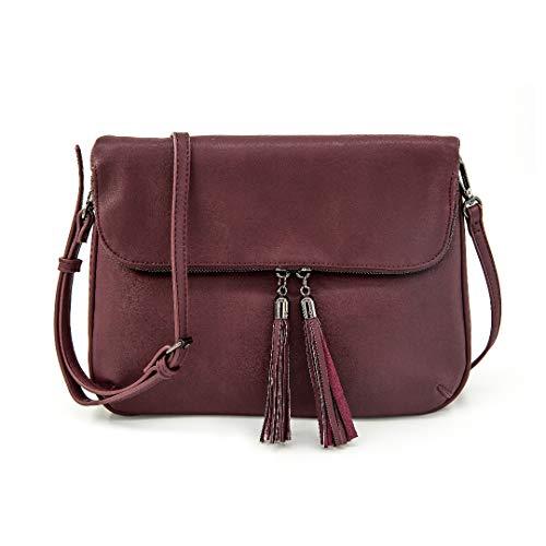 EMPERIA Women's Fold Flap Tassel Zipper Leather Crossbody Bag Purse Dark Wine