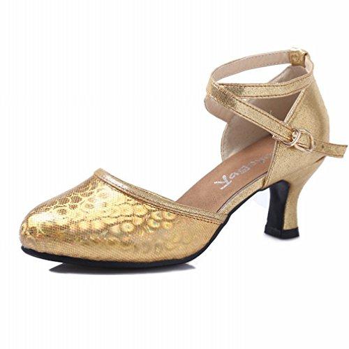de Damas Moderna 37 América BYLE Zapatos de Tobillo Baile Jazz Oro Sandalias Baile Modern Zapatos Verano Samba Adulto de Plaza Zapatos DE Cuero w6wfP8q4O