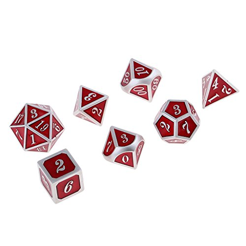 Baoblaze 7 Pieces Zinc Alloy Polyhedral Dice for D&D TRPG Board Game Party Fun Toys Red by Baoblaze