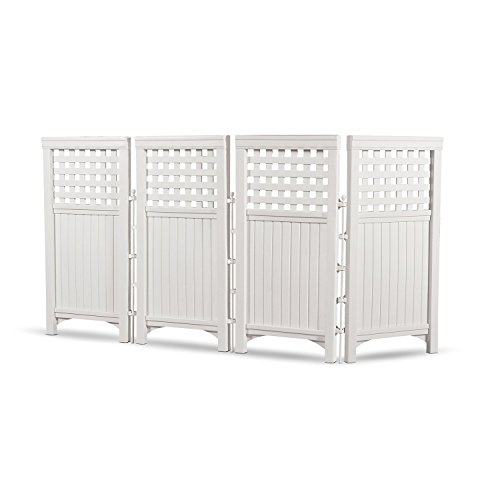 Plastic Fence Panels - Suncast Outdoor Garden Yard 4 Panel Screen Enclosure Gated Fence, White