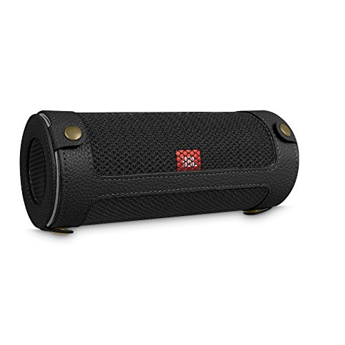 Fintie JBL Flip 4 Case - Premium PU Leather Carrying Sleeve Protective Cover with Carabiner for JBL Flip4 Waterproof Portable Bluetooth Speaker, Black