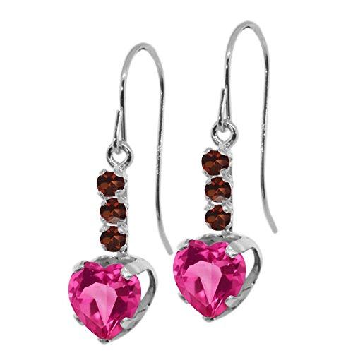Pink & Garnet Earrings Topaz (2.04 Ct Heart Shape Pink Mystic Topaz Red Garnet 925 Sterling Silver Earrings)